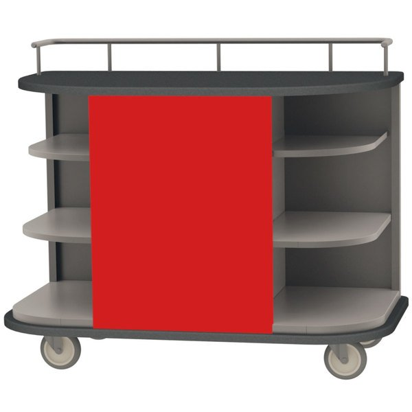 Lakeside 8715 R Stainless Steel Self Serve Full Size Hydration Cart With 6 Corner Shelves And Red