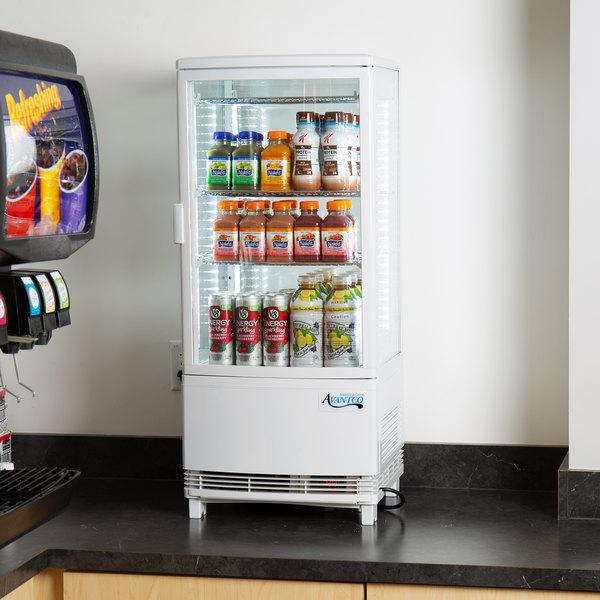 Avantco GSM-3-HC White Glass Sided Countertop Display Refrigerator Main Image 3
