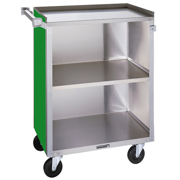 "Lakeside 810G Medium-Duty Stainless Steel Three Shelf Utility Cart With Enclosed Base and Green Finish - 16 7/8"" x 28 1/4"" x 34 1/2"" Main Image 1"