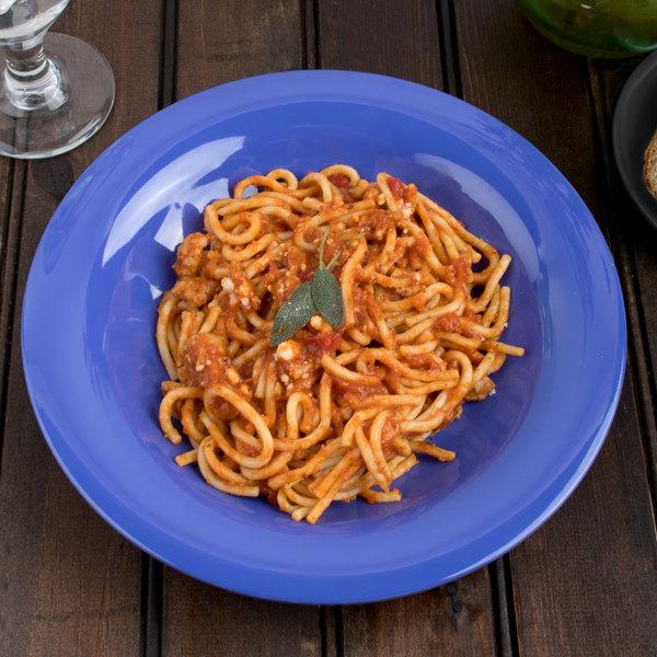 """Carlisle 3303414 Sierrus 9 1/4"""" Ocean Blue Melamine Pasta / Soup / Salad Bowl - 24/Case"""