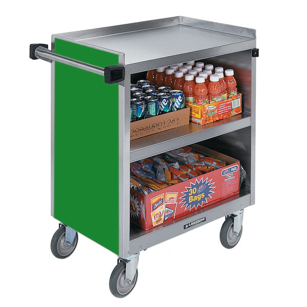 "Lakeside 844G Heavy-Duty Stainless Steel Three Shelf Utility Cart With Enclosed Base and Green Finish - 22 1/2"" x 39 5/16"" x 37"" Main Image 1"