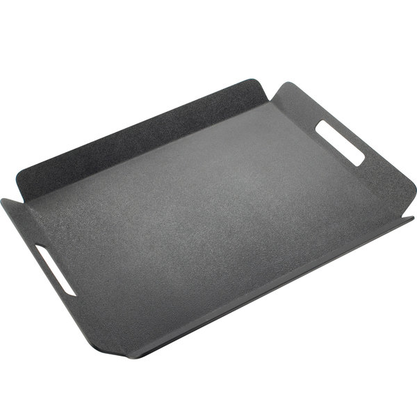 "Cal-Mil 958-1-13 22 1/2"" x 17"" Black Room Service Tray with Raised Edges"