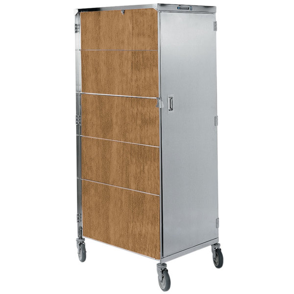 """Lakeside 655LM Compact Series Dual Door Stainless Steel / Light Maple Vinyl Tray Cart for 15"""" x 20"""" Trays - 16 Tray Capacity Main Image 1"""