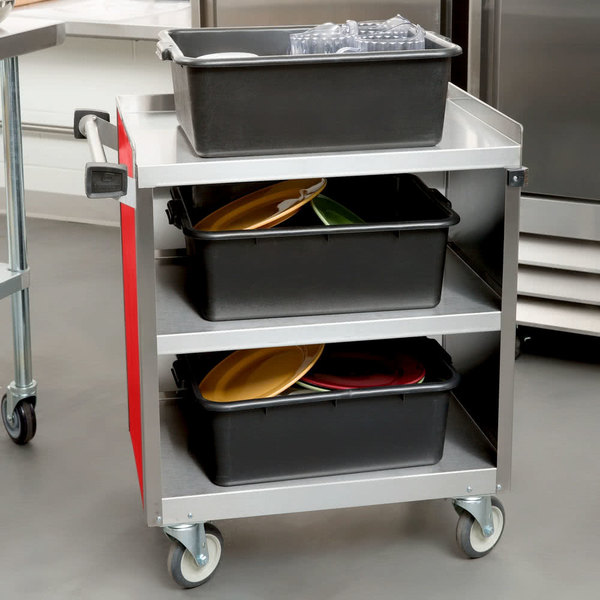 "Lakeside 822RD Heavy-Duty Stainless Steel Three Shelf Utility Cart With Enclosed Base and Red Finish - 19 1/2"" x 31 1/3"" x 34 1/2"" Main Image 4"