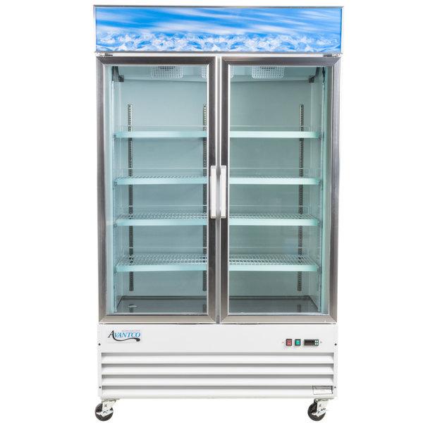 "Avantco GDC-40F 49"" White Swing Glass Door Merchandising Freezer with LED Lighting"
