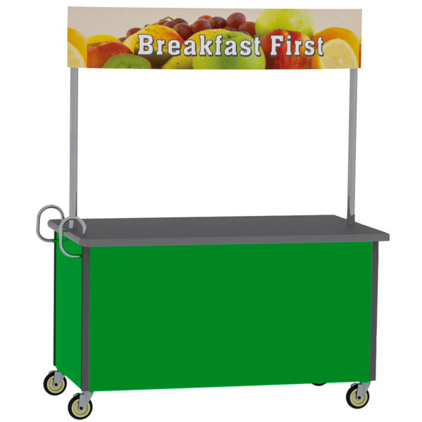"Lakeside 764G Stainless Steel Vending Cart with Flat Top and Green Laminate Finish - 35 1/2"" x 65 1/2"" x 80"" Main Image 1"