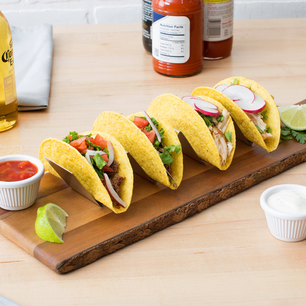"Choice 10 1/2"" x 2"" x 2"" Stainless Steel Half Size Taco Holder with 3 or 4 Compartments"