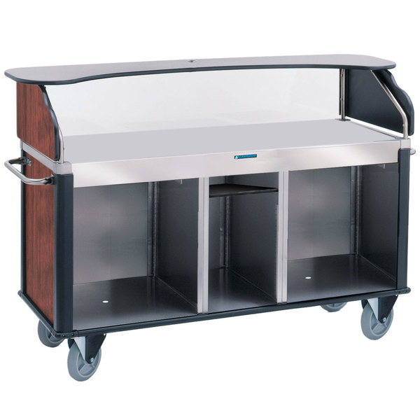 """Lakeside 68210RM Serv 'N Express Stainless Steel Vending Cart with Flat Surface and Red Maple Laminate Finish - 28 1/4"""" x 77 1/4"""" x 52 1/2"""" Main Image 1"""