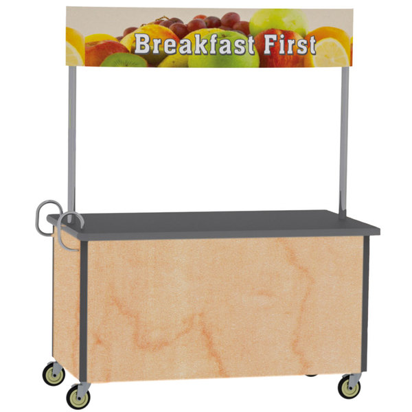 """Lakeside 764HRM Stainless Steel Vending Cart with Flat Top and Hard Rock Maple Laminate Finish - 35 1/2"""" x 65 1/2"""" x 80"""" Main Image 1"""