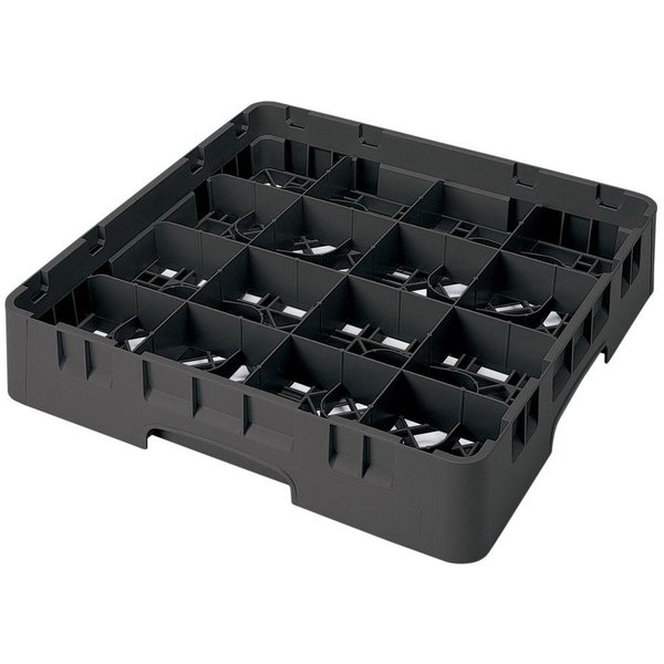 "Cambro 16S738 Camrack 7 3/4"" High Customizable Black 16 Compartment Glass Rack"