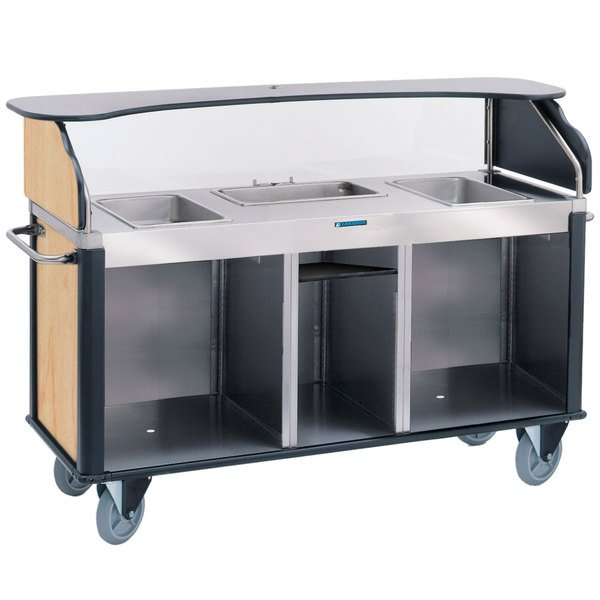 "Lakeside 68220HRM Serv 'N Express Stainless Steel Vending Cart with 3 Counter Wells and Hard Rock Maple Laminate Finish - 28 1/4"" x 77 1/4"" x 52 1/2"" Main Image 1"