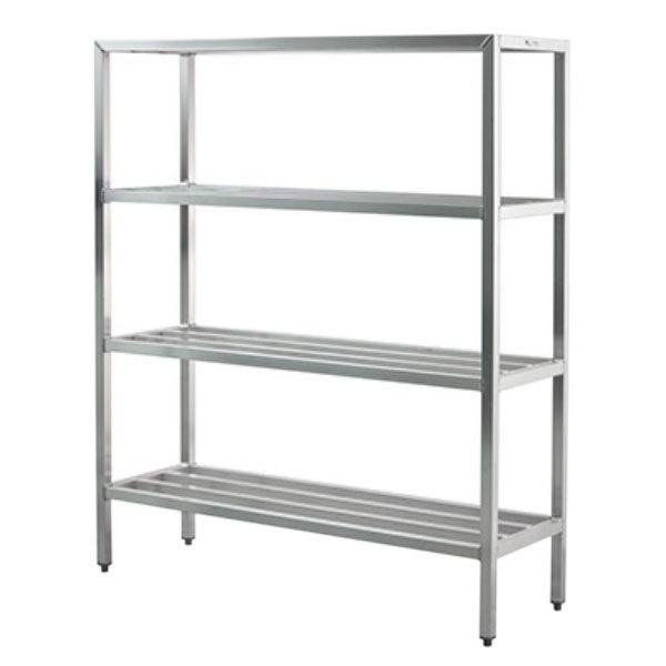 """Lakeside PBWS48 PrisonBilt 48 1/4"""" x 24 1/4"""" x 72 1/4"""" Four Shelf Aluminum Shelving Unit - 2000 lb. Main Image 1"""