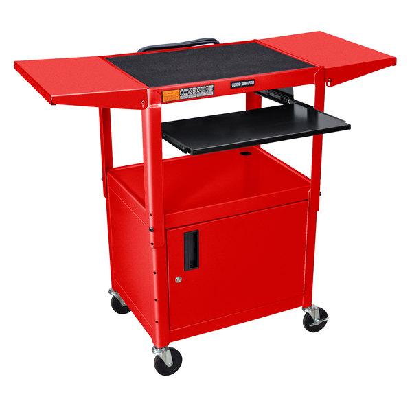 Luxor AVJ42KBCDL-RD Adjustable Height Red A/V Cart with Keyboard Shelf and Drop Leaf Shelves