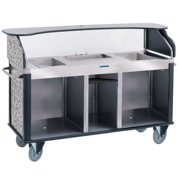 """Lakeside 68220GS Serv 'N Express Stainless Steel Vending Cart with 3 Counter Wells and Gray Sand Laminate Finish - 28 1/4"""" x 77 1/4"""" x 52 1/2"""" Main Image 1"""