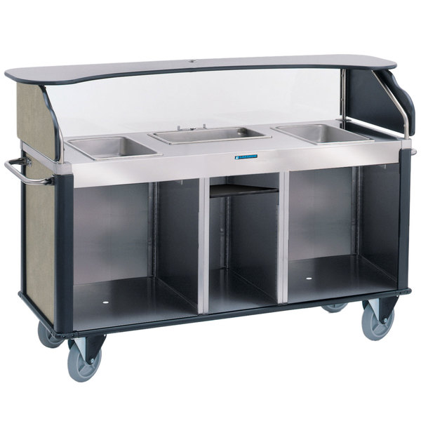 """Lakeside 68220BS Serv 'N Express Stainless Steel Vending Cart with 3 Counter Wells and Beige Suede Laminate Finish - 28 1/4"""" x 77 1/4"""" x 52 1/2"""" Main Image 1"""
