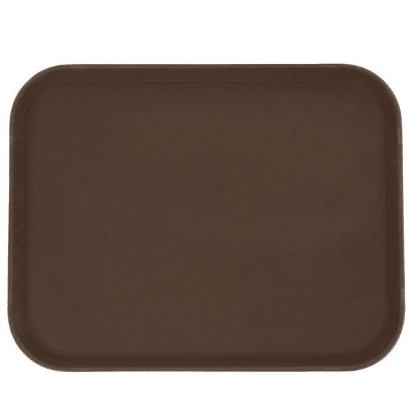 14 inch x 18 inch Brown Rectangular Fiberglass Non-Skid Serving Tray