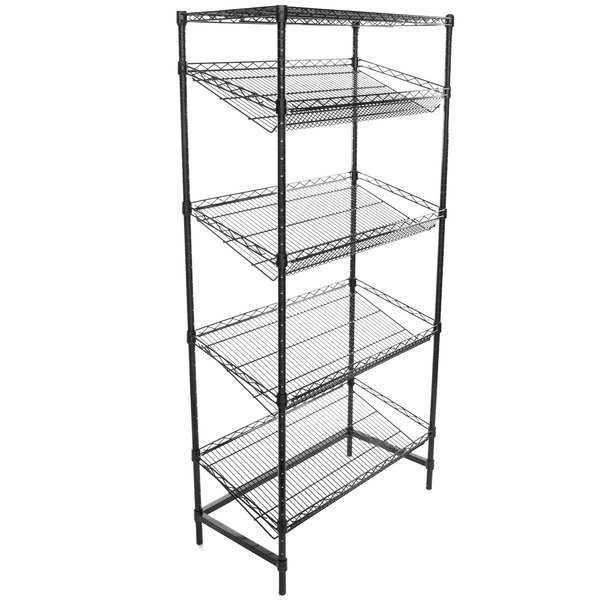 black wire four shelf shelving unit with angled shelves