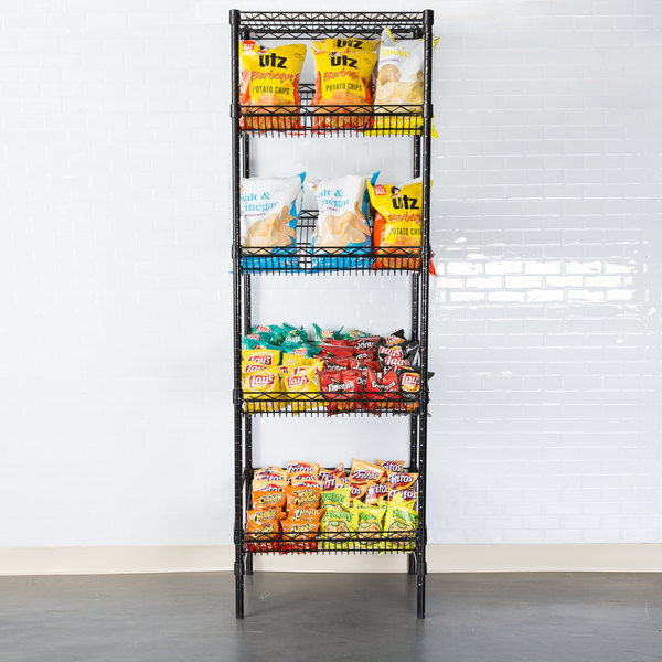 "Regency Black Epoxy 5-Shelf Angled Stationary Merchandising Rack - 18"" x 24"" x 74"" Main Image 3"