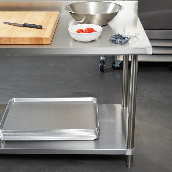"Regency 24"" x 96"" 16-Gauge Stainless Steel Commercial Work Table with 4"" Backsplash and Undershelf Main Image 2"