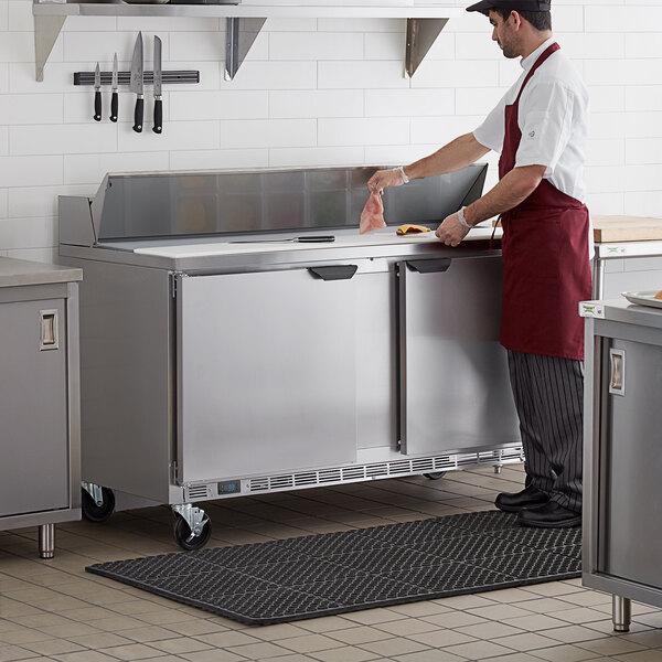 "Beverage-Air SPE60HC-16 Elite Series 60"" 2 Door Refrigerated Sandwich Prep Table Main Image 7"