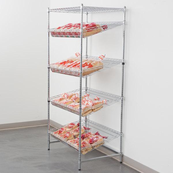 "Regency Chrome 5-Shelf Angled Stationary Merchandising Rack - 24"" x 36"" x 74"""