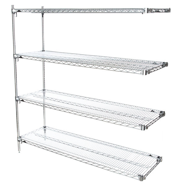 "Metro AA476C Super Adjustable 4-Shelf Chrome Wire Stationary Add On Shelving Unit - 21"" x 72"" x 63"" Main Image 1"