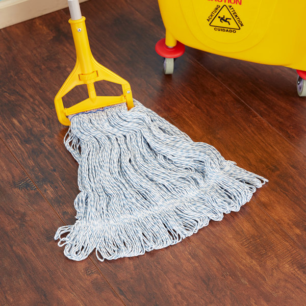 """Continental Wilen A11412 24 oz. Blue and White Blend Loop End Finish Mop Head with 1 1/4"""" Band"""