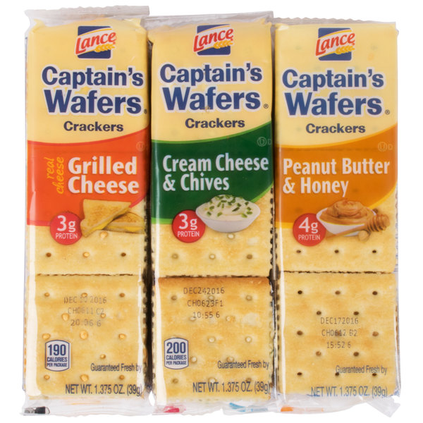 Lance Captain's Wafers Sandwich Crackers 8 Count Variety Pack - 14/Case