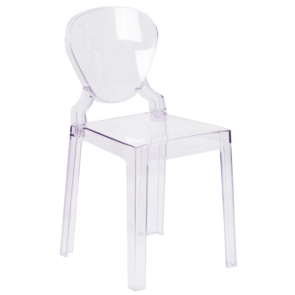 Flash Furniture OW TEARBACK 18 GG Ghost Transparent Polycarbonate Outdoor /  Indoor Chair With Tear Back