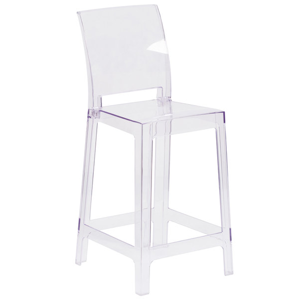 Flash Furniture OW SQUAREBACK 24 GG Ghost Transparent Polycarbonate Outdoor  / Indoor Counter Height Stool With Square Back