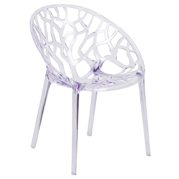 Flash Furniture FH-156-APC-GG Specter Transparent Polycarbonate Outdoor / Indoor Stackable Side Chair