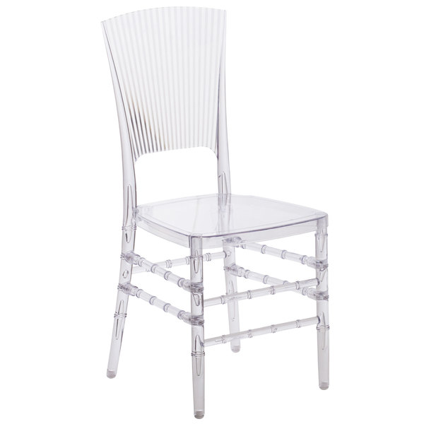 polycarbonate furniture. Flash Furniture BH-H006-CRYSTAL-GG Elegance Chiavari Transparent Polycarbonate Outdoor / Indoor Stackable Chair With Solid Back