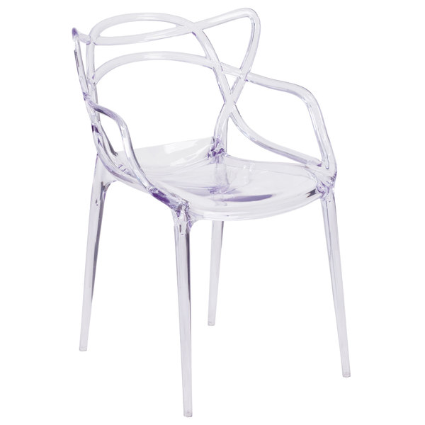 Flash Furniture FH-173-APC-GG Nesting Transparent Polycarbonate Outdoor / Indoor Stackable Side Chair Main Image 1