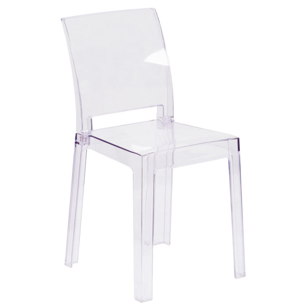 Flash Furniture OW SQUAREBACK 18 GG Ghost Transparent Polycarbonate Outdoor  / Indoor Chair With Square Back