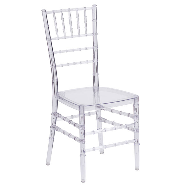 Flash Furniture BH-ICE-CRYSTAL-GG Elegance Chiavari Transparent Polycarbonate Outdoor / Indoor Stackable Chair