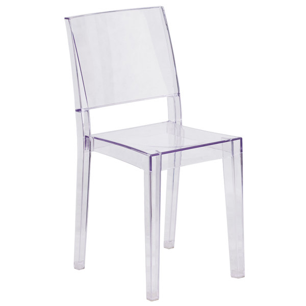 Flash Furniture FH-121-APC-GG Phantom Transparent Polycarbonate Outdoor / Indoor Stackable Side Chair