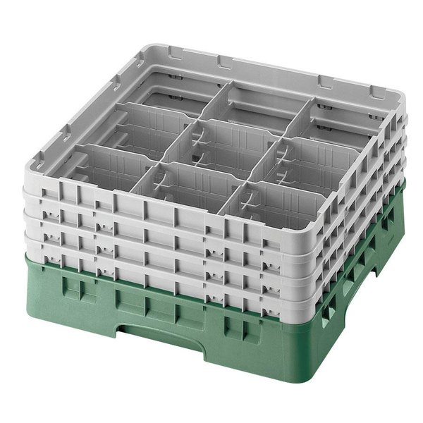 "Cambro 9S434119 Sherwood Green Camrack Customizable 9 Compartment 5 1/4"" Glass Rack Main Image 1"