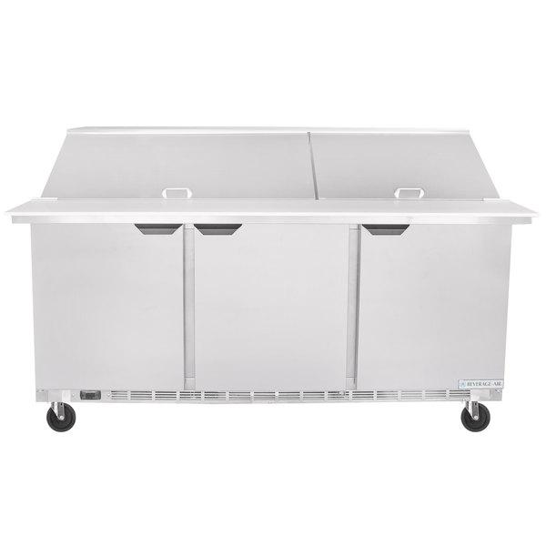 """Beverage-Air SPE72HC-30M Elite Series 72"""" 3 Door Mega Top Refrigerated Sandwich Prep Table"""