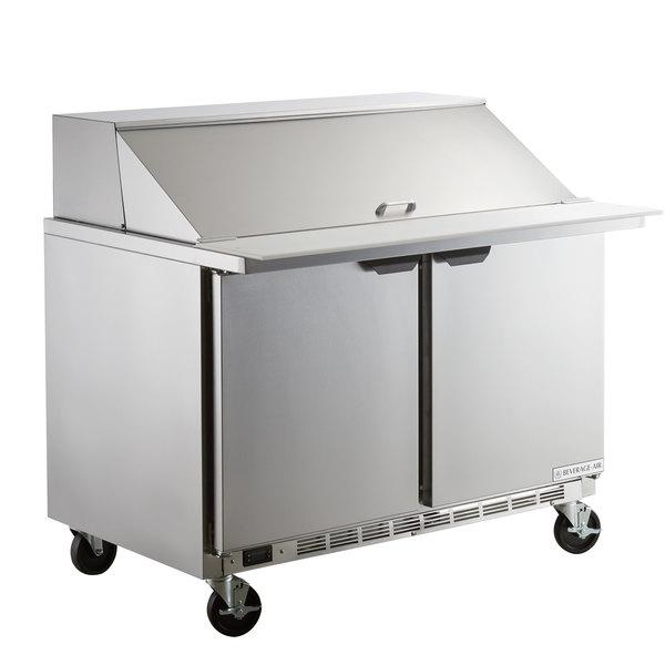 """Beverage-Air SPE48HC-18M Elite Series 48"""" 2 Door Mega Top Refrigerated Sandwich Prep Table"""