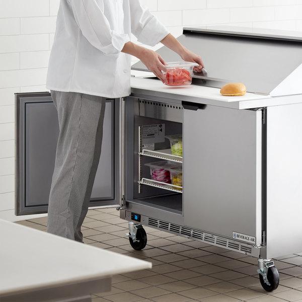 "Beverage-Air SPE48HC-18M Elite Series 48"" 2 Door Mega Top Refrigerated Sandwich Prep Table Main Image 6"