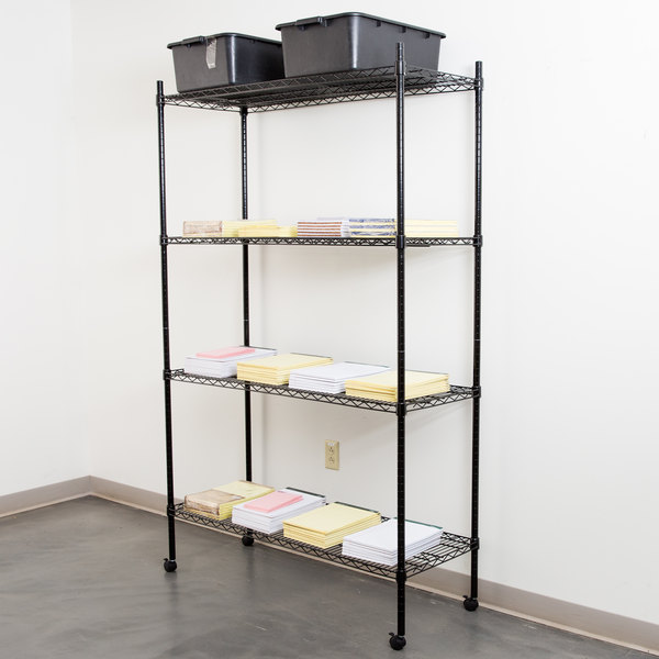"360 Office Furniture 18"" x 48"" Black Wire Shelving Unit with 74"" Posts and Casters Main Image 3"