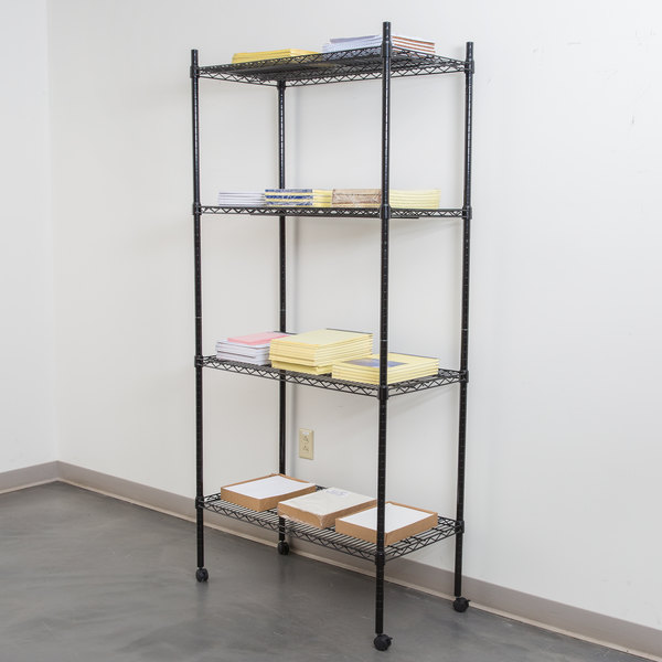 """360 Office Furniture 18"""" x 36"""" Black Wire Shelving Unit with 74"""" Posts and Casters Main Image 3"""