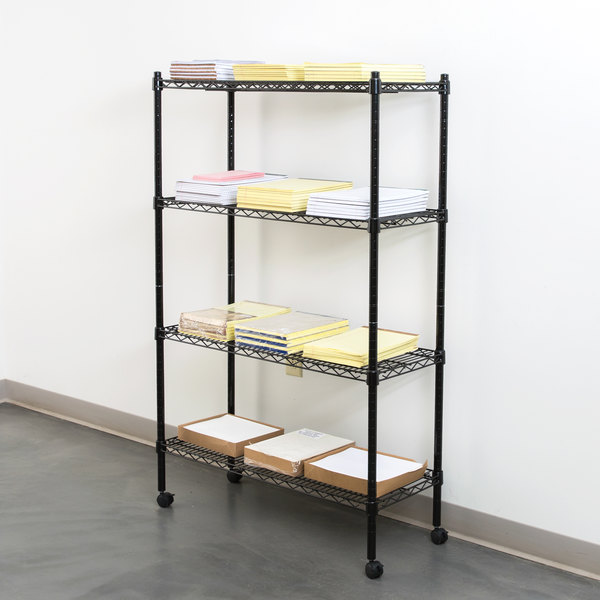 360 office furniture 14 x 36 black wire shelving unit with 54 posts and casters - Wire Shelving Units