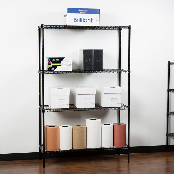 "360 Office Furniture 18"" x 48"" Black Wire Shelving Unit with 74"" Posts"
