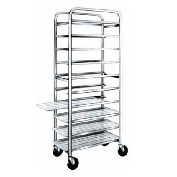 """Winholt AL-1210 End Load Aluminum Platter Cart - Ten 12"""" Trays"""