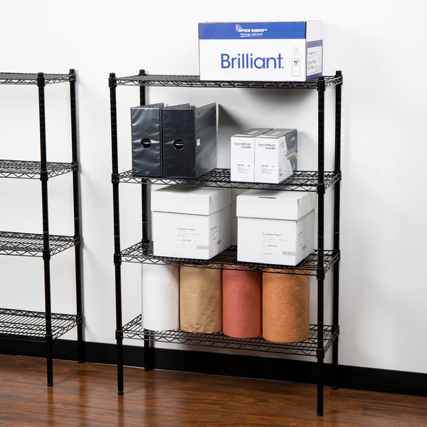 """360 Office Furniture 14"""" x 36"""" Black Wire Shelving Unit with 54"""" Posts"""