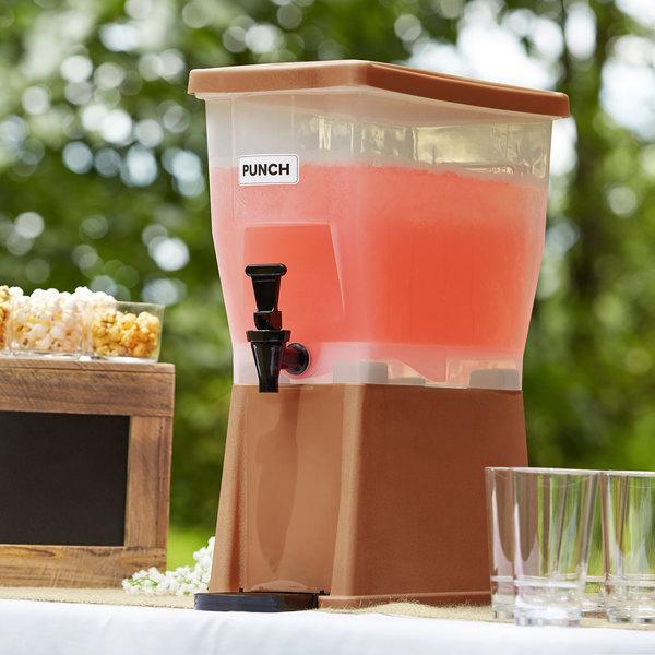Choice 3 Gallon Brown Slim Beverage / Juice Dispenser
