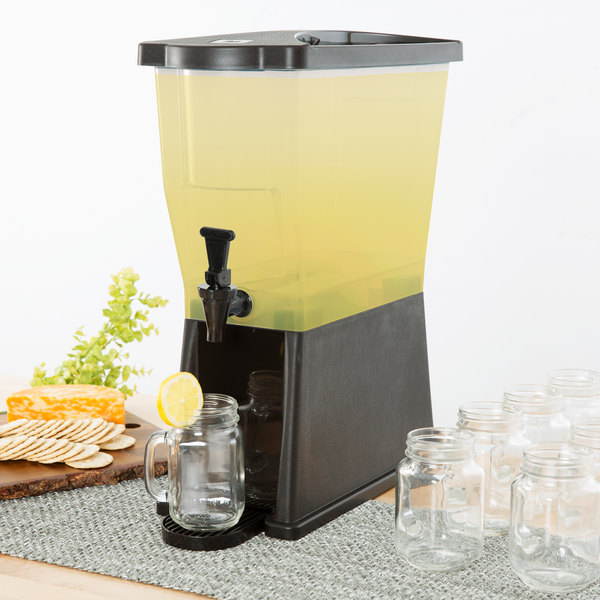 Choice 3 Gallon Black Slim Beverage / Juice Dispenser