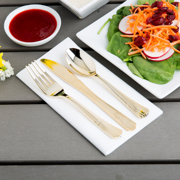 Gold Visions Heavy Weight Gold Look Plastic Basic Cutlery Set (25 Sets / 75 Pieces Total)