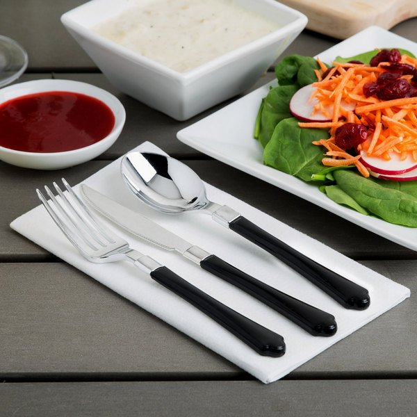 Silver Visions Heavy Weight Black Handled Plastic Basic Cutlery Set (20 Sets / 60 Pieces Total) Main Image 4